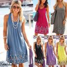 2018 Women Summer Boho Short Dress Loose Evening Party Dresses Plus Size Beach Sundress