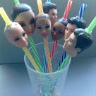 Doll Head Straws, rubber, plastic, doll parts, recycled, upcycled, reclaimed, doll heads, mixed medi