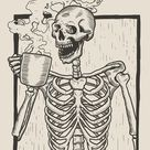 Download Skeleton Linocut Drink Coffee for free