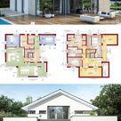Fertighaus modern mit Satteldach & 6 Zimmer Grundriss 260 qm bauen - Haus Design Ideen innen aussen