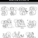 Free Christmas Squirrel Digital Stamps