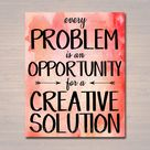 Inspirational Watercolor Printable Poster, School Counselor Teacher Social Worker Classroom Pink Office Decor, Problem Has Creative Solution