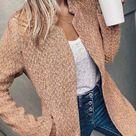 Retro Pocketed Heather Grey Coat - L / Khaki