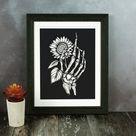 Skeleton Hand and Sunflower - Giclée Art Print - A4 / 8.27 x 11.69 Inch
