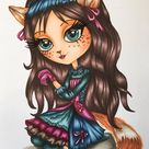 Coloring Pages, Digital stamp, Digi, Cat, Girl, Steampunk, Fantasy, Whimsical, Crafting, Cardmaking.  The Cat Girl Serie. Nessie Cat Girl