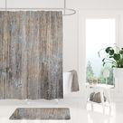 Rustic Wood Textured Shower Curtain Bath Mat, Luxury and Elegant Bathroom Set, Modern Boho Bathroom Decor