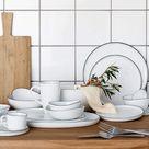 Broste Copenhagen Skål, Salt, Porcelæn, Hvid M. Sort Kant - 21,8x24xH4,2