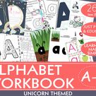 ALPHABET WORKBOOK Unicorn themed! 260 PDF's  of conceptual worksheets & crafts,  Aa-Zz, 10 pages per letter