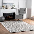 Handgefertigter Teppich Obadiah aus Wolle in Grau/Elfenbein