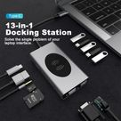 Type-C to HDMI-compatible VGA PD 3.5mm Audio Jack RJ45 Hub Wireless Charging Dock Adapter
