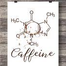 Coffee Printable art  Caffeine molecule  Scientific art   Etsy