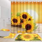 Sunflower Waterproof Polyester Shower Curtain Bathroom Carpet + Pedestal Rug + Toilet Seat Cover