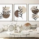 Mid Century Modern Wall Art Botanical Prints Neutral Colored | Etsy