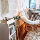 Cozy, inspiring, Bohemian, boho style, papasan chair, plant stand basket, bright and airy, nook, vin