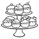 Cupcakes: kleurplaten cupcake etagere