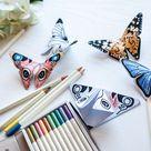 Schmetterlinge aus Papier falten für Kindergarten und Grundschule