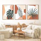Abstract Botanical Art Set of 3 Prints, Boho Gallery Wall art, Mid century Modern Printable Art, Tropical Leaves Art, Monstera, Palm Leaf