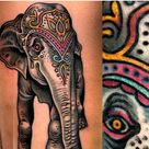 Colorful Elephant Tattoo