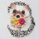 Digital Hand Embroidery Pattern: Hedgehog  Thread Painting | Etsy