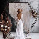 KENZIE champagne/ivory Long Sleeve Boho Chic Wedding Dress   Etsy