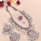 Indian Oxidised Jewellery, Stone Studded Pearl Drop Necklace Set, Combo of 4, bridal jewellery, cele