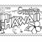 Hawaii Coloring Pages - Hawaii State Stamp - Hawaiian tradition and culture coloring pages