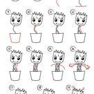 Wie zeichnet man Baby Groot. Einfaches Zeichnen, Schritt für Schritt, perfekt für Kinder! Las...