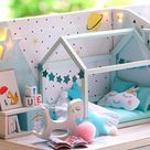 DIY 3D Wooden Model Dollhouse Blue Loft Furniture LED Light Kit Tiny Scene Doll House Modern Apartment Adults Kids Diorama Ideas Gifts Toys