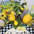 Home Sweet Home Lemon Summertime Wreath, Grapevine Door Decoration, Spring Floral Arrangement, Housewarming Gift, Fruit Wall Decor