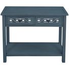 Red Barrel Studio® Classic Console Table w/ Hollow-out Decoration Two Top Drawers in Blue, Size 30.0 H x 35.4 W x 13.8 D in | Wayfair