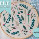 Wildflower Mix Floral Contemporary Hand Embroidery Pattern Instant PDF Download Create Your Own Art