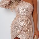 Sexy Single Sleeve Sequined Champagne Dress (champagne/L)