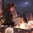 HD wallpaper Genshin Impact, anime girls, HutaoGenshin Impact, ghost