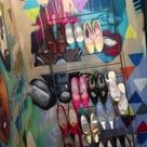 Repurposed baby crib rail   shoe display   Paperdoll Vintage Boutique   Omaha, NE  www.facebook.com/heypaperdoll