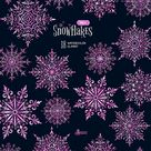 Schneeflocken-rosa. 18 Aquarell separate Elemente Cliparts   Etsy