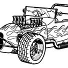Naked Hood Hot Rod Cars Coloring Pages