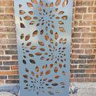 Metal Privacy Screen Decorative Panel Outdoor Garden Fence Art   Flowerburst1