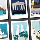 Travel Postcards Set of 15. Volume 2 Postcard Gifts. Art Prints and Wedding Cards. Illustration Pack Minimal Wanderlust.
