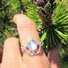Moonstone Orbit Ring  925 Silver Ring Blue Rainbow   Etsy