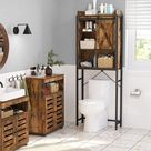 "Premium Rustic Brown Over-The-Toilet Storage Cabinet Space-Saving Bathroom Organizer Rack 25.2""L x 9.4""W x 67.3""H"