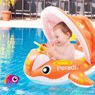 Aufblasbar Baby Schwimmhilfe Schwimmring Sonnenschutz Babyboot Schwimmtrainer