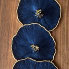 Resin coaster set-DARK Navy agate geode Resin Coasters with gold accents -Great housewarming, realtor, teacher gifts