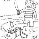 Kostenlose Malvorlage Piraten: Pirat mit Schatz zum Ausmalen