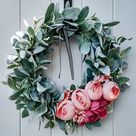 Lambs Ear Floral Wreath, Pink Peony Wreath, Year Round Wreath, Summer Wreath, Spring Wreath, Year Round Wreath, Large Front Door Wreath