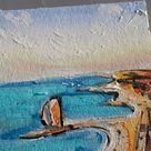La Barceloneta Barcelona Beach oil Painting original framed, promenade and the beach of La Barceloneta Barcelona Painting, España Wall