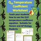 Q10 Temperature Coefficient Worksheet   Printable and Digital Distance Learning