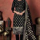 Party Wear Black Banarasi Silk Woven Trouser Suit RM 269