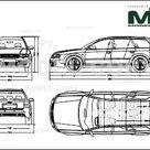 Audi RS6 Avant 2002   2D drawing blueprints   22686   Model COPY   English
