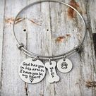 Personalized Pet Memorial Bangle - Custom Jewelry - God Has You In His Arms - Loss Of a Pet - Sympathy Gift - Remembrance - Dog Loss