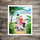 Beach Illustration, Beach Gift Idea, Beach Family Art, Family Illustration, Custom Illustration, Family Gift Ideas, Custom Family Portrait